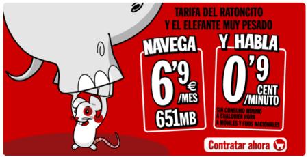 LLamadas a 0,9 cent/min y 651MB por 6,9€