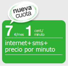 Amena tarifa internet + sms + precio por minuto