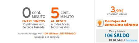 Simyo Tarifa 0/5 cent. + 100MB