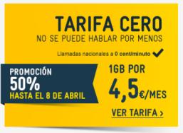 MasMovil Tarifa Cero con cuota a mitad de precio