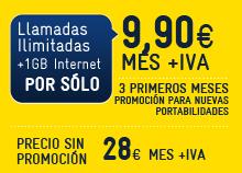 Tarifa del Pueblo tarifa ilimitada de MásMóvil por 9,9 euros durante 3 meses