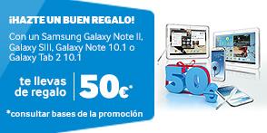 Samsung regala 50€ al comprar un Galaxy SIII (I9300) Note II (N7100) Galaxy Tab 2 10.1 (P5100 y P5110) Galaxy Note 10.1 (N8000 y N8010)