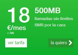 Amena incluye 500 MB en su tarifa ilimitada de voz y la rebaja a 18€