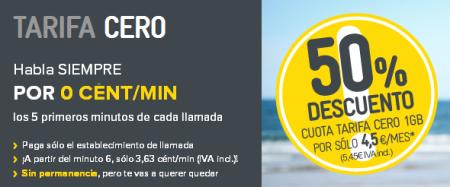 Tarifa Cero lllamadas a cent/min de MásMóvil por 4,5 euros durante 6 meses