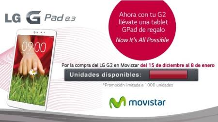 LG regala un tablet LG GPad 8.3 al comprar un LG G2 con Movistar