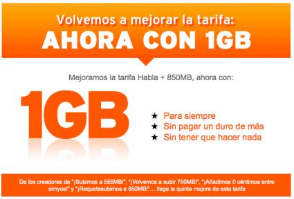1GB gratis en la tarifa de 5 cent. de Simyo