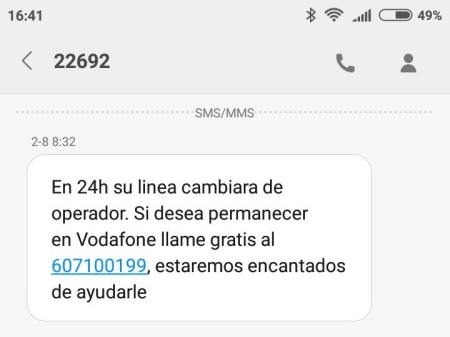 sms de comienzo de amago de Vodafone
